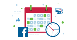 image of calendar with fb logo and clock